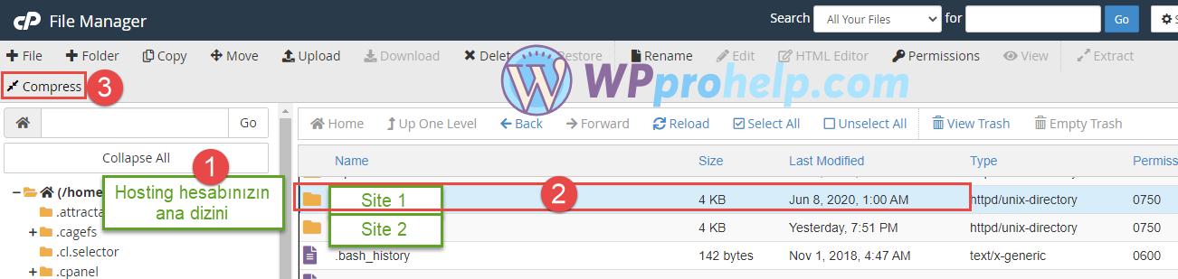 Cpanel Wordpress dizin yedekleme